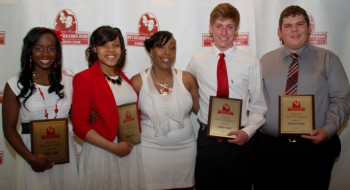 2013 Recipients of the Ashton L. O'Guinn Scholarship Award  (Left to Right) Cierra Clark, Shaunice Gray, Dewanna O'Guinn, Jackson Taylor, Garrett Thomas